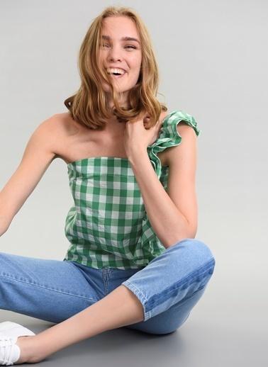 Agenda Tek Omuz Pötikare Bluz Yeşil